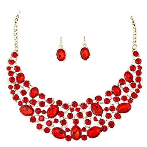 FAMILIZO Collar De La JoyeríA De Las Mujeres Plateado Oro De La JoyeríA Del Diamante Fijó Los Sistemas De Los Pendientes Del Collar (Rojo)