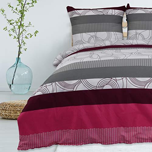 Bettwäsche 135x200 cm 2 teilig aus 100% Baumwolle Renforce mit Reißverschluss Bettwäscheset 1 Bettbezug und 1 Kissenbezug Standardgröße, Farbe Mehrfarbig mit Muster