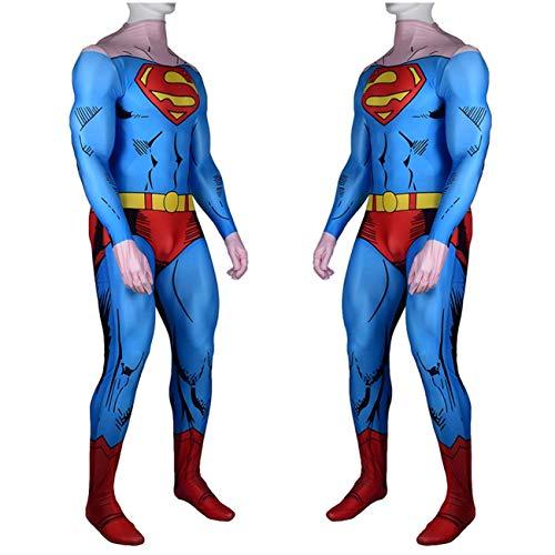 NVHAIM Kids Superman Steel Cuerpo Cos Body, Adulto Superhroe Adulto Cosplay Costume, Impresin 3D Padre-Nio Ropa Ropa Ropa Jumpsuits Traje de Batalla,Men XXXL