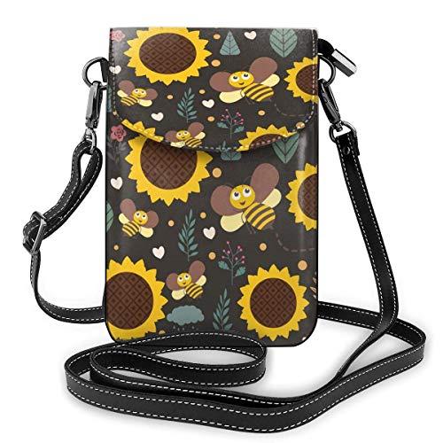 XCNGG Bee Sunflower Cell Phone Purse Crossbody Bag Pouch Shoulder Bags Wallet For Women Girls Travel Wedding