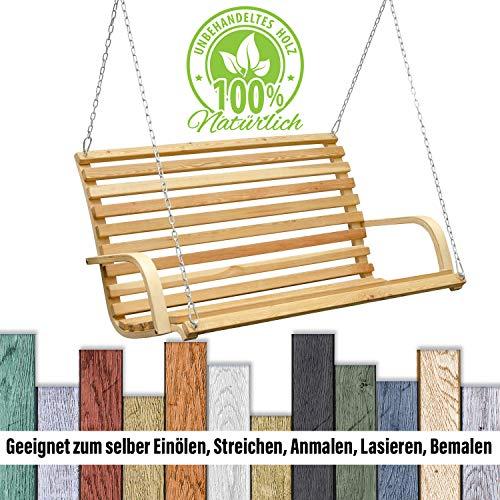 AMANKA Hollywoodschaukel Bank Holzbank Lärchenholz Gartenbank Schwebebank Schaukelbank mit Befestigung - 5