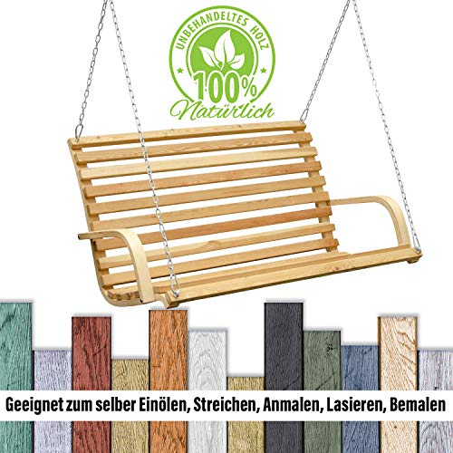 Hollywoodschaukel Bank | Holzbank Lärchenholz Gartenbank Schwebebank Schaukelbank mit Befestigung - 5