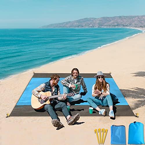 AIBLUE Picknickdecke Stranddecke Wasserdicht 200x210cm Sandabweisende Campingdecke 4 Befestigung Ecken Picknick/Strand Matte für den Strand, Campen, Wandern und Ausflüge.Mit eigenem Beutel (Blau)