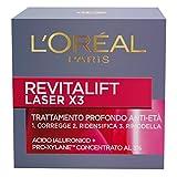 l'oréal paris trattamenti revitalift laser x3 crema viso antirughe anti-età con acido ialuronico e pro-xylane di giorno, 50 ml