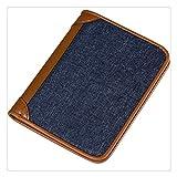 panduo Billetera Titular de la Tarjeta de la Cartera Cierre de Cuero y cinturón (Color : Blue)