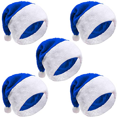 URATOT 5 Pack Christmas Santa Hats Blue Hat Short Plush Xmas Santa Hats for Christmas Ornaments Party Supplies