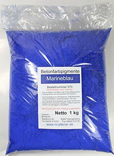 Blau / Marineblau Pigment Farbpulver 1kg, für Betonmasse, Estrich, Putz, Gips, Harz, Fugenmörtel...