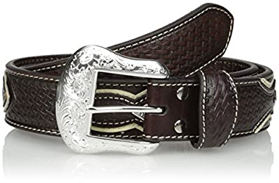 Nocona Men's Pro Black Circle Silver Overlay, Brown, 36