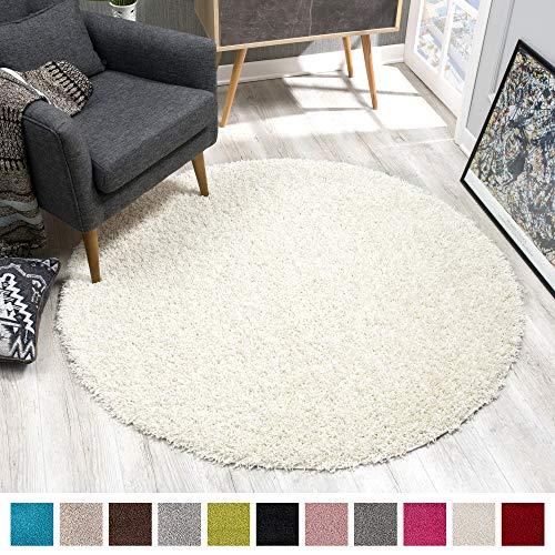SANAT Teppich Rund - Creme Hochflor, Langflor Modern Teppiche fürs Wohnzimmer, Schlafzimmer, Esszimmer oder Kinderzimmer, Größe: 200x200 cm