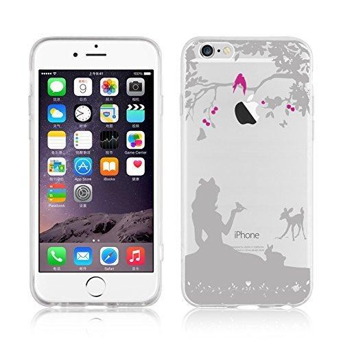 JAMMYLIZARD Cover iPhone 6 Plus, Custodia in Silicone Trasparente con Sketch per iPhone 6 Plus e 6s Plus, Bianca Silhouette