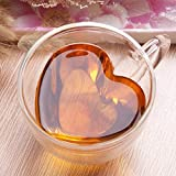 TANSTAN Tazas de café o té de doble pared con forma de corazón, cristal transparente y aislado con asa de regalo para San Valentín, 180 ml