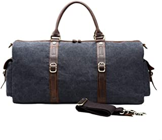 Duffel Bag Men Large Fancy Luxury Vintage Travel Canvas and Leather Duffle Bag (Color : Blue, Size : S)