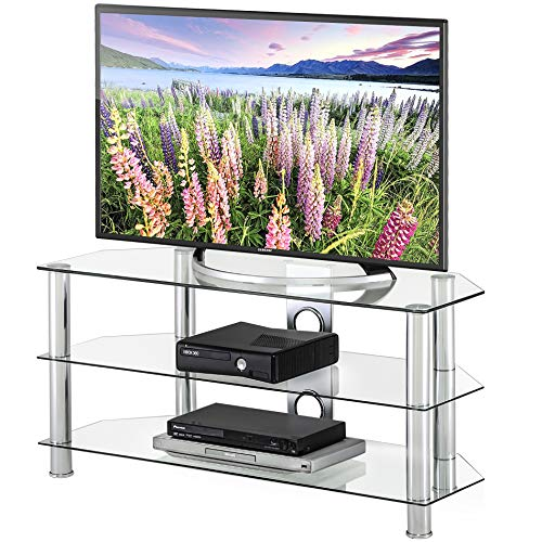 FITUEYES Classic Clear Tempered Glass TV Stand Suit for up to 50 inch LCD LED OLED TVS,TS310501GT