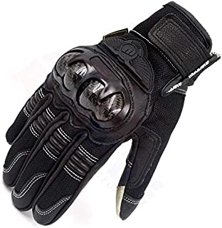 Andride Madbike Men's Motorcycle Carbon Fibre Knuckle Summer Smart Riding Gloves (Black, XL)