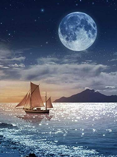 Full Round Drill 5D DIY Diamond Painting'Night Seascape Moon Tower' 3D Embroidery Cross Stitch 5D Home Decor A7 45x60cm