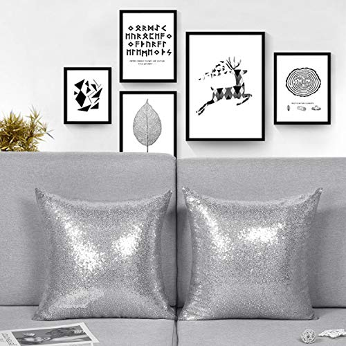 Alishomtll Set of 2 Glitter Pillow Case Cover, Sequin Sparkling Cushion Covers Square 18 x 18 Inches for Sofa Home Decor, 45x45 cm (Silver)
