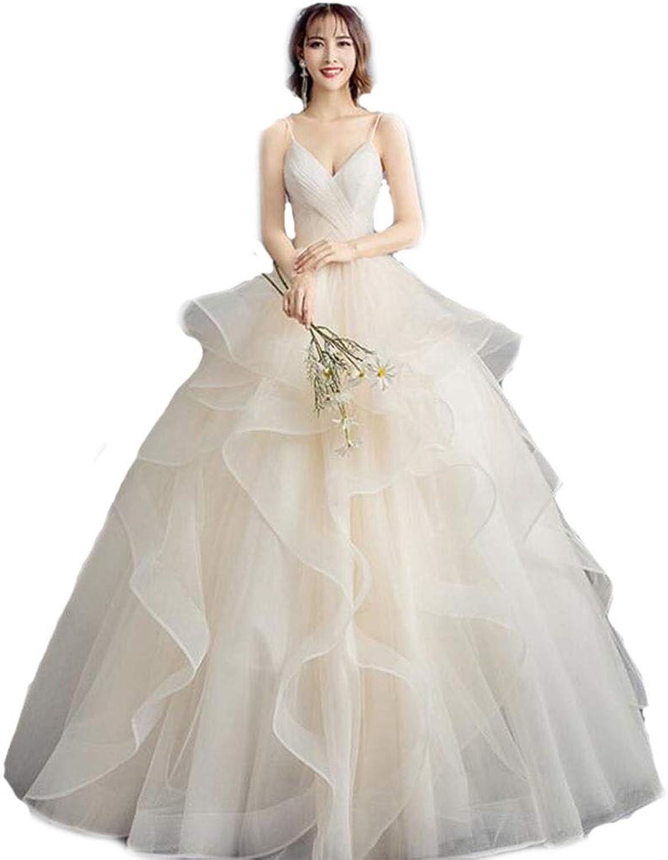 Main Wedding Dress Bride Wedding Dress Tube top Strap VNeck Pettiskirt Slim Slimming Summer Wedding Dress lace Skirt Wedding Dress (color   White, Size   L)