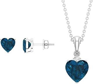 3.5 CT London Blue Topaz Jewelry Set, Solitaire Earrings and Pendant Set, HI-SI Diamond Necklace Set