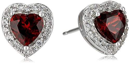 Sterling Silver Genuine Garnet and Created White Sapphire Halo Heart Stud Earrings
