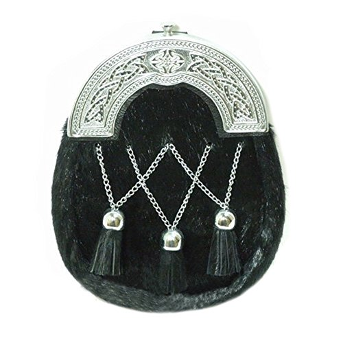 The Scotland Kilt Company Black Calfskin Fulls Dress Sporran Cross Chain Tassels - Celtic Cantle