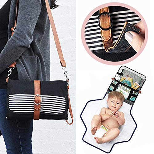 Portable Changing Pad Diaper Clutch- Waterproof Baby Changing Station w/Wipes Holder, Extra Pockets, Hands Free Crossbody Strap- Travel Changing Mat Folds Into a Small Diaper Bag Purse w/One Hand