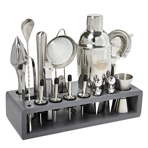 G2S Cocktail Shaker Set, 17 pcs Bartender Kit, Large Capacity Bar Accessories with Sleek Bamboo Stand, Stainless Steel, 25 oz. Cocktail Shaker (Gray)