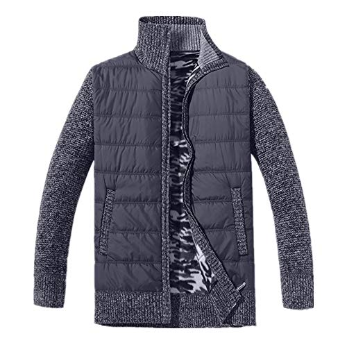 FULUN Jacekt Outwear - Abrigo de manga larga con cremallera completa para hombre, con bolsillos, estilo casaul, de gran tamaño, cuello de pie, estilo patchwork, suéter, suéter, blusa