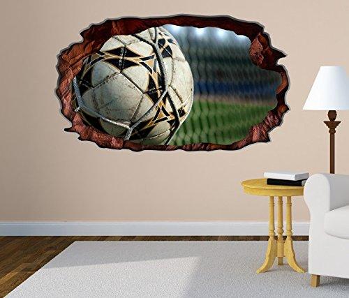 3D Wandtattoo Fussball Netz Ball Fußball Tor Goal selbstklebend Wandbild Tattoo Wohnzimmer Wand Aufkleber 11M194, Wandbild Größe F:ca. 140cmx82cm