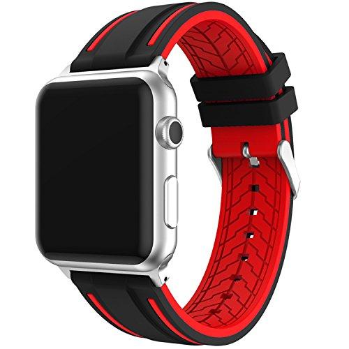 Elespoto Apple Watch Apple Watch Series Cinturino in Silicone a sgancio rapido per Apple Guarda Apple Watch Series (38MM Black Red)