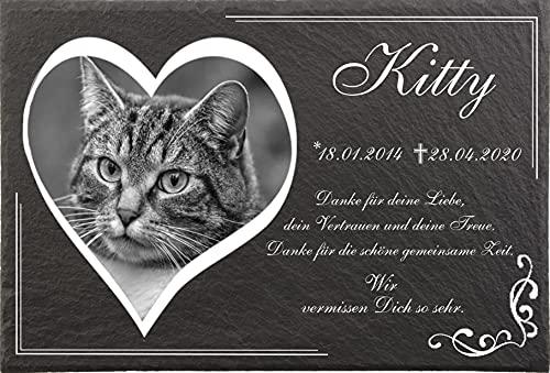 Tiergrabsteine mit Bild und Text Herzgravur für Katzen, Gedenksteine für Tiere mit personalisierter Gravur Katzen, Hunde, Haustiere Gedenksteine aus Naturschiefer 30x20 cm