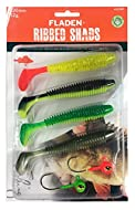 FLADEN Fihing - 4 x OFT LURE RIBBED HAD Aortment Pack (8cm / 8g or 12cm / 12g) Imitation Bait Fih for Predatory Fihing ( 2 Colour et) - Come with 2 Lead- Jig Head In freshwater perch pike zander and trout love them