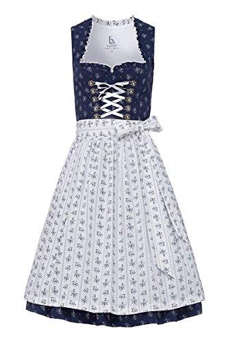 Bergweiss Trachten Damen Mini Dirndl 60er dunkelblau weiß Diana 003742, Größe 40