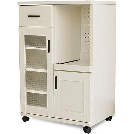 moca company Roundear キッチンカウンター 幅60 レンジ台 ロータイプ コンパクト キャスター付き ホワイト 木目調
