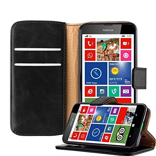 Cadorabo Hülle für Nokia Lumia 630 in Graphit SCHWARZ – Handyhülle mit Magnetverschluss, Standfunktion & Kartenfach – Hülle Cover Schutzhülle Etui Tasche Book Klapp Style