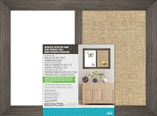 The Board Dudes 17″ X 23″ Combo Dry Erase and Burlap with Decorative Distressed Wood Frame