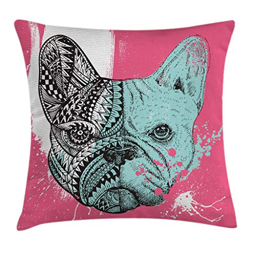 iksrgfvb Modern Throw Pillow Cushion Cover, French Bulldog Split with Embellished Ethnic and Paintbrush Artwork, Decorative Square Accent Pillow Case, Pink Seafoam Black White 45X45CM