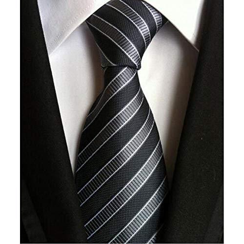 SHDSHD Corbata de Moda Hombres clásicos Rayas Amarillo Azul Marino Corbata de Boda Jacquard Weave Corbata sólida de Lunares para Hombre Corbata de Lazo