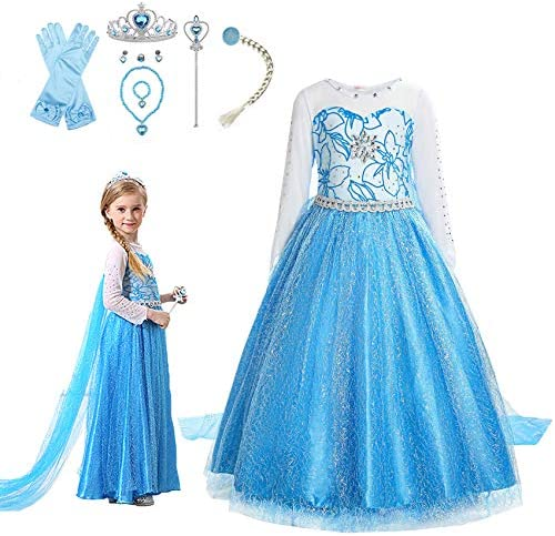 VBY Snow Princess Dress for Girls Cosplay Party Costume Queen Birthbay Dress up 3 8T product image