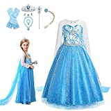 VBY Snow Princess Dress for Girls Queen Cosplay Halloween Costume Birthbay Party Dress up 3-8T with Accessories