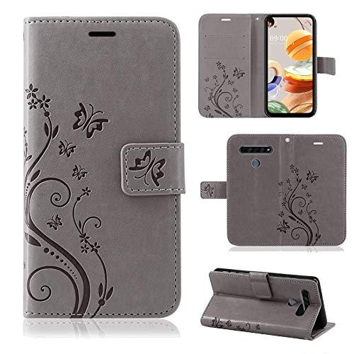 betterfon | LG K61 Hülle Flower Hülle Handytasche Schutzhülle Blumen Klapptasche Handyhülle Handy Schale für LG K61 Grau