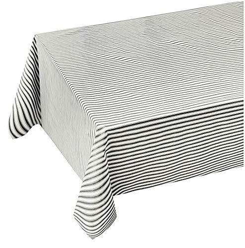 emmevi - Mantel de cocina antimanchas a rayas, elegante, plastificado, felpa, 12 tamaños, cubre mesa a medida, mod. Favola 281