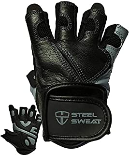 Steel Sweat Workout Gloves - Best for Weightlifting Gym Fitness Training and Crossfit – Made for Men and Women who Love Lifting Weights and Exercise - Leather SCARR Black/Gray XL