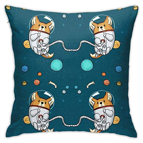 Space Corgi Decorative Throw Pillow Cover Soft Square Cushion Cover for Sofa Bedroom Car 18 X 18 Inch