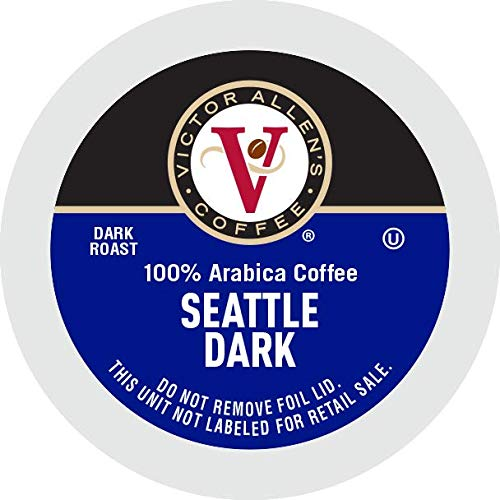 Victor Allen's coffee Seattle Blend, Dark Roast, 80Count Single Serve Coffee Pods for Keurig K Cup Brewers, Seattle Dark, 80Count