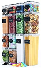 ✮ SUPERIOR BUNDLE - Your Complete Bundle comes with 14 BPA-FREE Premium Food-Storage Canisters, Measuring Spoon Set, a Chalkboard Marker & BONUS Reusable Chalkboard Labels allowing You to organize your pantry like never before. This set comes in a be...