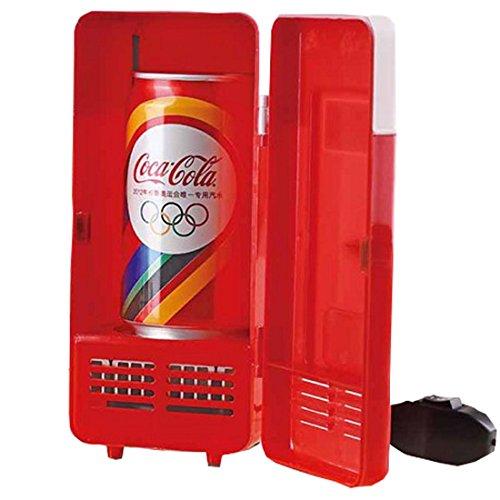 Winterworm, mini frigorifero per auto e PC, USB, LED, per bevande, lattine di Coca-Cola e cibo, raffredda e scalda, colore rosso