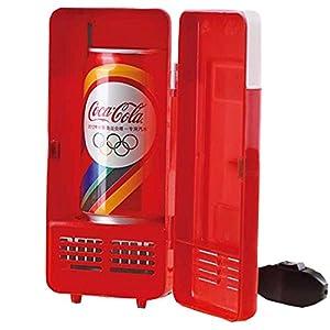Winterworm - Minienfriador para coche u ordenador con conexión USB, indicador LED, función de calentamiento, con espacio para una lata de refresco (rojo)