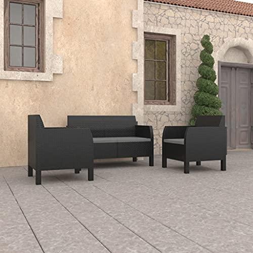 Set Salottino da Giardino, Set Mobili da Giardino Salotto da Giardino con Tavolo Set Divani da Giardino 3pz con Cuscini in PP Antracite