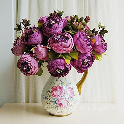 Weka Home Office finto foglia artificiale peonia fiori di seta bouquet da sposa Ball Decor viola