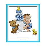 Essinged DIY. Niedliche Cartoon Muster Baby Flasche Baby Geburt Anleitung Blau Rosa Kreuzstich Kits Stickerei Malerei Baby Schlafzimmer Dekoration